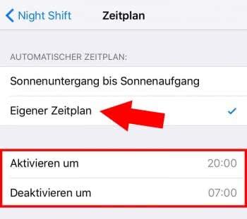 Night Shift planmäßig aktivieren
