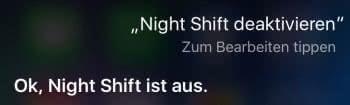 Night Shift deaktivieren mit Siri