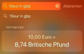 Währungen umrechnen in der Spotlight-Suche