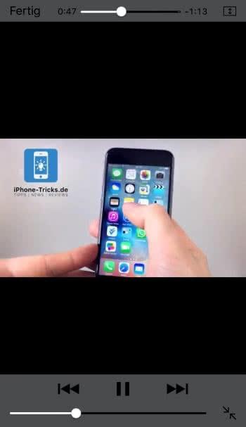 Video öffnen & Home Button drücken