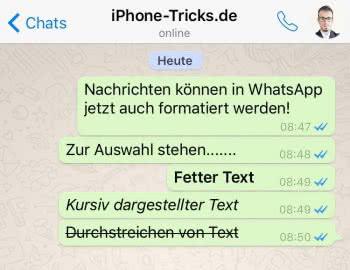 WhatsApp Nachrichten formatieren: Fett, Kursiv & Durchgestrichen
