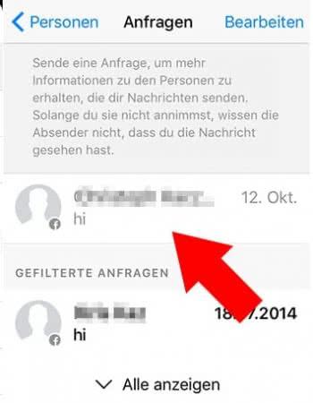 In Facebook Messenger Nachrichtenanfragen annehmen oder ignorieren auf dem iPhone