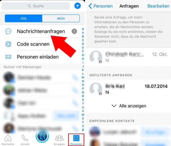 Im Facebook Messenger gefilterte Nachrichten lesen auf dem iPhone
