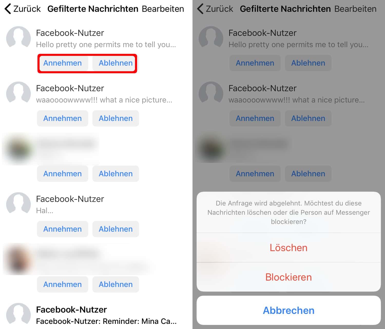 Facebook Messenger Nachrichtenanfragen - gefilterte
