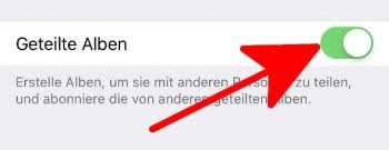 """""""Geteilte Alben"""" aktivieren in den Einstellungen unter """"Fotos"""""""