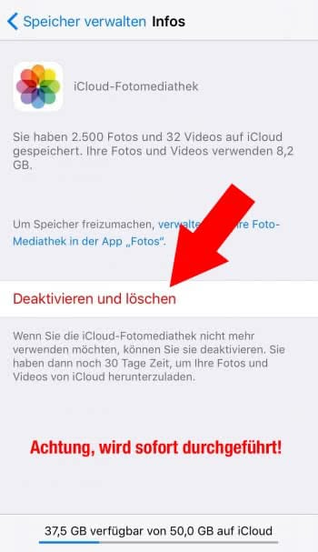 Alle Inhalte aus iCloud-Fotomediathek entfernen