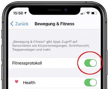 iPhone Fitnessprotokoll aktivieren
