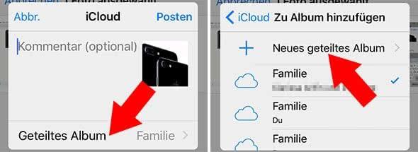 iCloud-Fotofreigabe auf dem iPhone