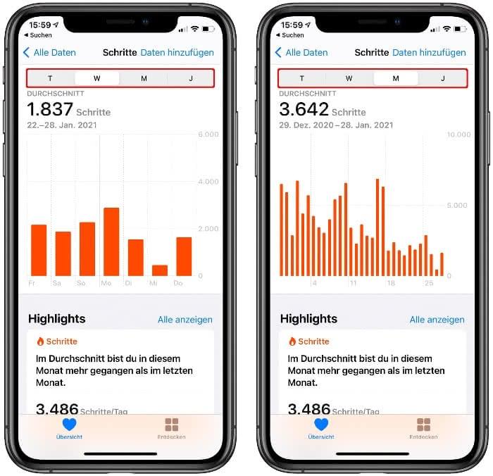 Schritte Diagramm in der Health-App