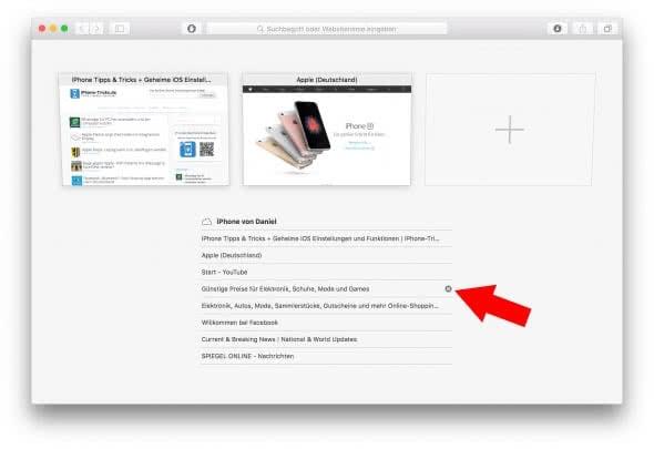 iPhone-Tabs schließen auf dem Mac