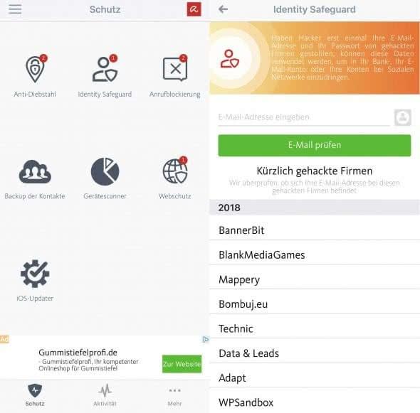 Avira Mobile Security App auf dem iPhone