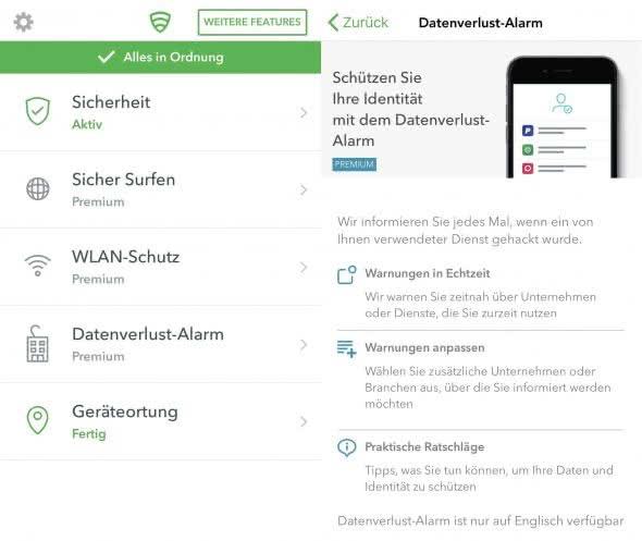 Lookout, Mobile Security App auf dem iPhone