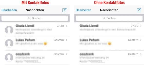 Kontaktfotos ausblenden in Nachrichten App
