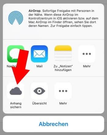 Anhänge in iCloud sichern