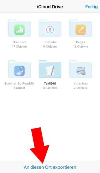 Anhang in iCloud sichern