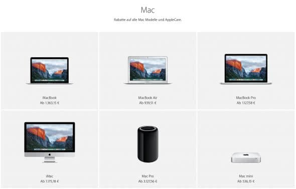Bildungsrabatt für Macs