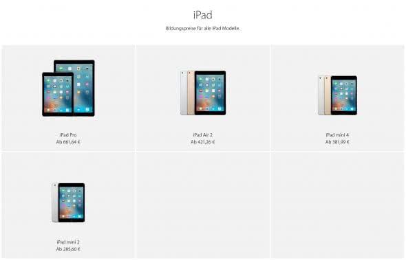 Bildungsrabatt für iPads