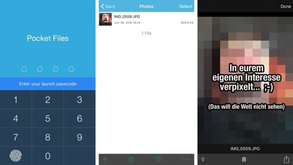 Fotos mit Passwort schützen in Pocket Files