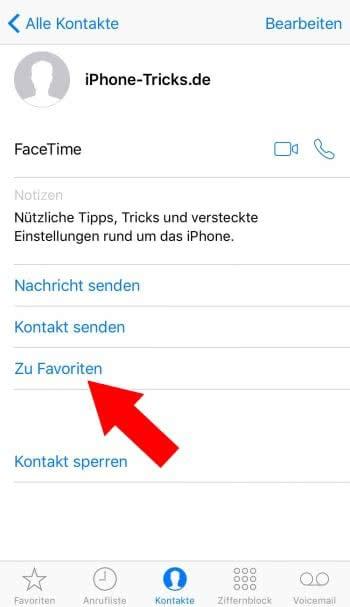 Kontakte zu Favoriten hinzufügen in Telefon App