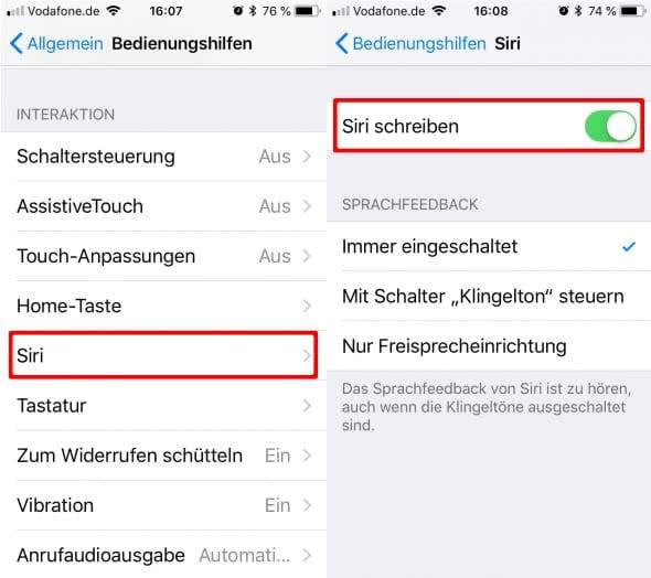 Siri schreiben statt sprechen