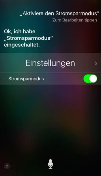 Stromsparmodus aktivieren mit Siri