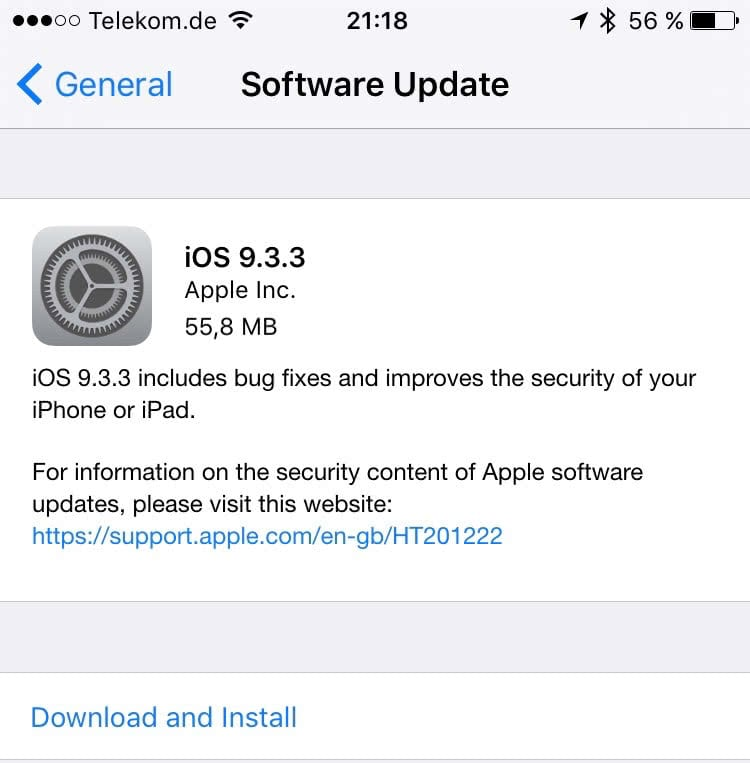 iOS 9.3.3 Release Notes