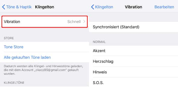 iPhone Vibration ändern