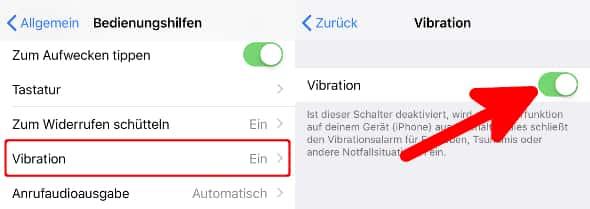 iPhone Vibration einstellen