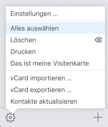 Kontakte exportieren als VCF-Datei