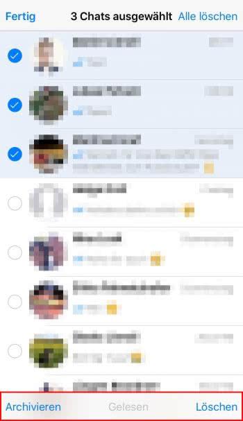 Mehrere Chats archivieren, löschen oder als gelesen markieren