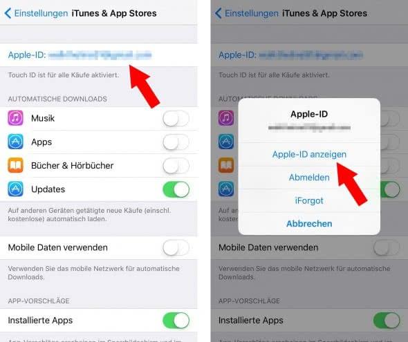 Zahlungsdaten für Apple-ID ändern oder entfernen