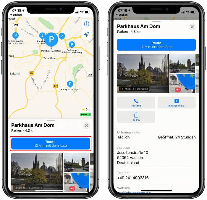 Route zum Parkplatz starten und weitere Info anzeigen in der Apple Karten-App