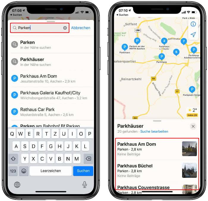 Parkplatz finden in der Karten-App auf dem iPhone