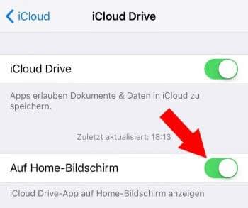 iCloud Drive App am Home Screen anzeigen