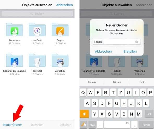 Ordner erstellen in iCloud Drive