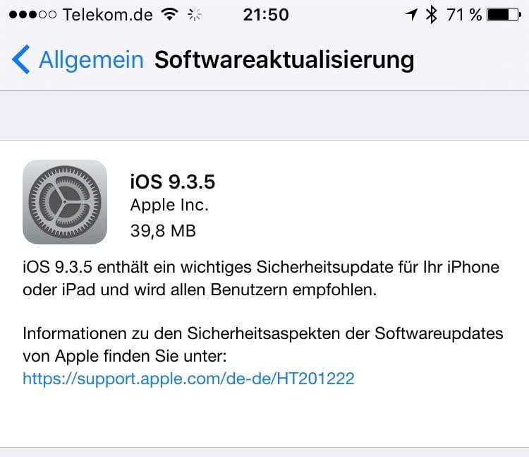 Update auf iOS 9.3.5