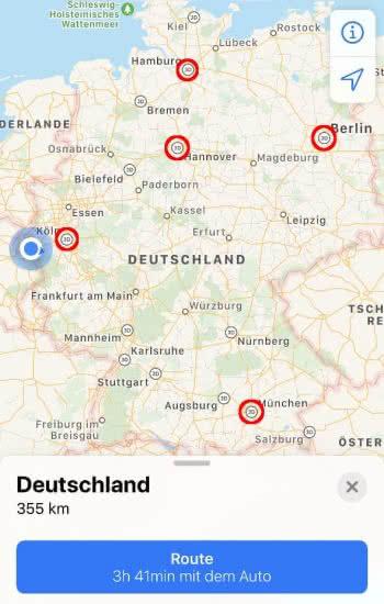 3D Flyover-Symbole in der Karten-App