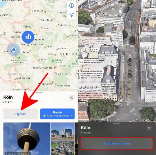 """Auf 3D-Symbol tippen, """"Flyover""""-Button antippen und """"Stadttour starten"""" wählen"""