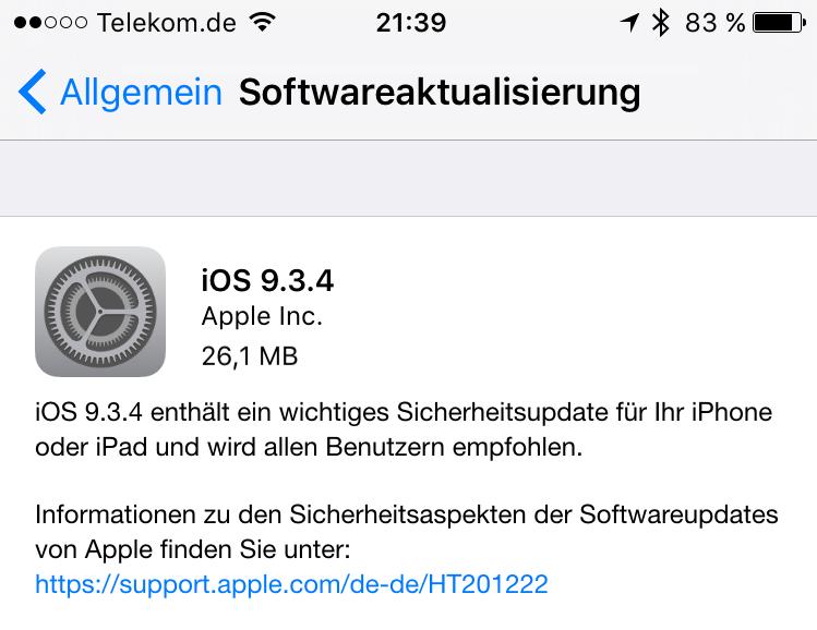 iOS 9.3.4 verhindert Pangu Jailbreak