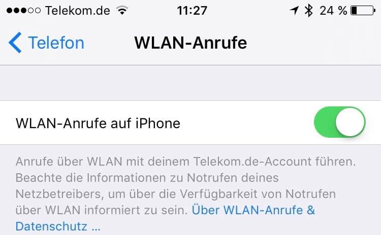 WLAN Anrufe einstellen