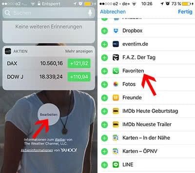 Favoriten anrufen ohne iPhone zu entsperren in iOS 10