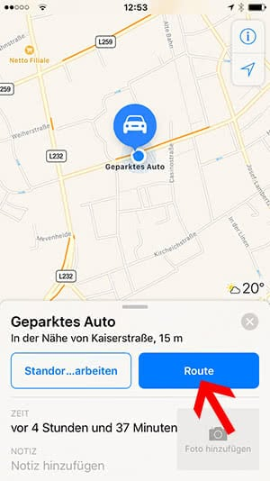 geparktes auto finden mit der apple maps app in ios 10. Black Bedroom Furniture Sets. Home Design Ideas