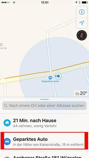 Geparktes Auto finden - Karten App - iOS 10