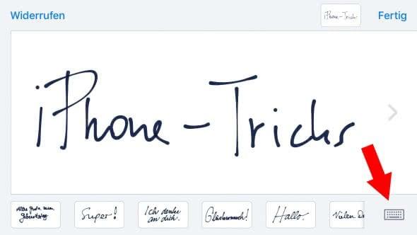 Handschrift-Modus (de)aktivieren