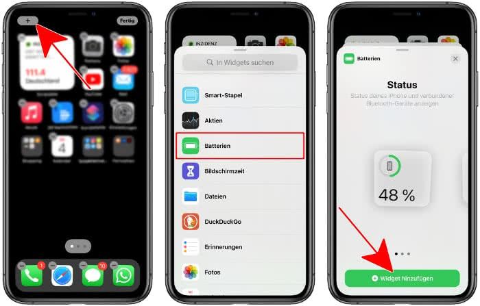 Batterien-Widget hinzufügen auf dem iPhone