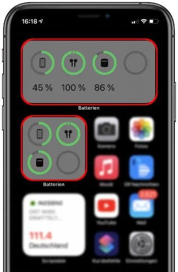 Batterien-Widget mit verbundenen Bluetooth-Geräten
