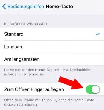 """""""Zum Öffnen Finger auflegen"""" aktivieren"""