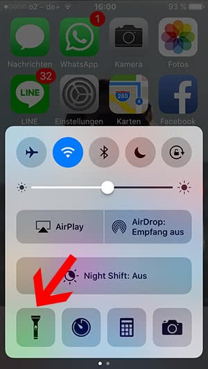 iphone 5c taschenlampe