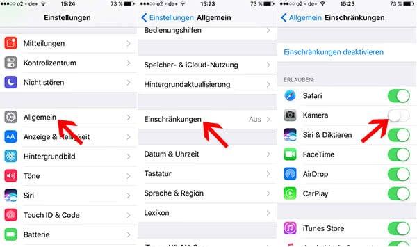 Kamera im Lockscreen deaktivieren in iOS 10