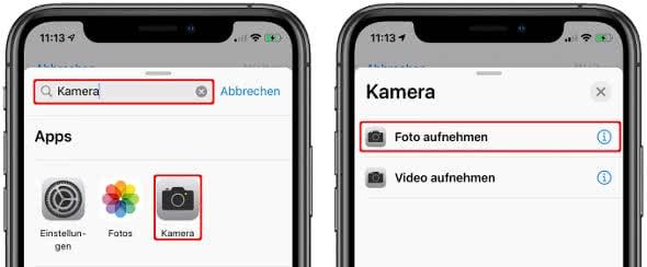 """Kamera-App suchen, antippen und """"Foto aufnehmen"""" wählen"""